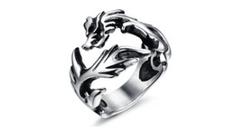 Wholesale Gothic Dragon Jewelry - Fashion Day Jewelry Men's Large Stainless Steel Ring Silver Dragon Gothic Tribal Biker Style Polished Jewelry Rings