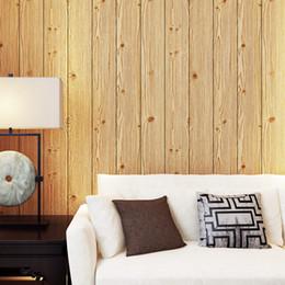 Wholesale Vertical Striped Wallpaper - Modern 3D Embossed Non-woven Vertical Striped Wallpaper Living Room Bedroom Wood Board Wood Grain Wallpaper Wall Covering Roll
