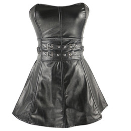 Wholesale faux leather bustier dress - Fashion Faux Leather Corset Dress New Style Waist Overbust Corsets Lingerie Gothic Steampunk Black Leather Plus Size Corsets and Bustiers Sl