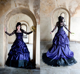 Wholesale Lace Accent Floor Length Dress - Githic Ball Gown Purple Wedding Dresses Sheer Long Sleeve Lace Accents Lace Up Bridal Dress 2016 Plus Size Ball Gown