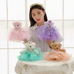 Wholesale Plush Doll Dress Teddy Bear - 25cm Cute Wedding Bear Plush Toys Mobile Phone Chain Pandant Dress Bear cloth doll lovers bear kids baby Christmas present