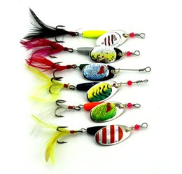 Wholesale Walleye Jigs - 2016 Metal Jigs Spinner baits set 6styles Cast Aolly Sequins Lures Bass Walleye Crappie Minnow Fishing lure feather hooks