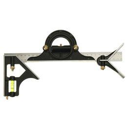 2019 tri herramienta Al por mayor-12 pulgadas Tri- regla cuadrada Ajustable de acero inoxidable Combinación cuadrado Maquinista herramienta de medición de ángulo tri herramienta baratos