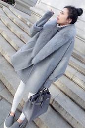 Wholesale Korea Women Long Sleeve - The 2016 New South Korea loose fur collar wool tweed coat, long thick wool woolen coat tide
