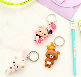Wholesale Rubber Wallets - Wholesale-Kawaii Cartoon For Choice Chi's Cat, Rilakkuma Bear Etc. - 6CM Pendant Rubber DOLL Key Wallet Hook Key Ring Holder TOY Keychain