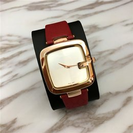 Wholesale Ladies Watch Faces - Famous Brand Women watch Genuine leather Lady Wristwatch Dress Watch Square Dial Face Gifts for Girls free shipping Top Quality Colorful