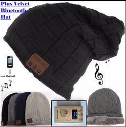 Wholesale Free Christmas Mp3 - Wireless Bluetooth 3.0V Beanie Knitted cap Plus Velvet Winter Hat Headset Speaker Mic Hand-free Music Mp3 Magic Smart Cap S773