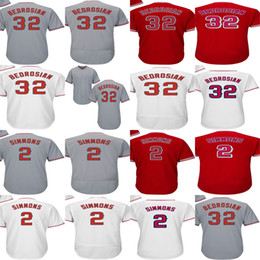 Wholesale Green Cam - Factory Outlet Mens Womens Kids Toddlers Los Angeles 32 Cam Bedrosian 2 Andrelton Simmons Grey Red White Best Quality Cheap Baseball Jerseys