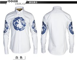 Wholesale China Clothes For Men - Hot sale! New spring mens full sleeve print dragon china style shirts for men's clothing plus size M-4XL man Slim fit shirt
