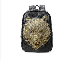 Wholesale Wolf Pillows - Fashion stylish backpacks 3D wolf head backpack special cool shoulder bags for teenage girls PU leather laptop school Backpack Style