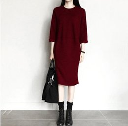 Wholesale Long Sleeve Sweater Mini - 2016 autumn the new Korean version of large women's cotton package hip long paragraph stitching nine points sleeve sweater dress