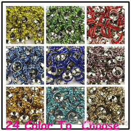Wholesale Cross Bracelets Cheap - Cheap!Mixed Color Rhinestone Crystal Rondelle Spacer Beads,Rhodium Plated Big Hole European Bead for bracelet hotsale DIY Findings Jewelry