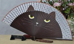 2019 noël japonais en gros Vente en gros - haute qualité Vintage japonais en soie de bambou fan de dessin animé chat peint peint fan artisanat Noël cadeau de Noël 21x38cm noël japonais en gros pas cher