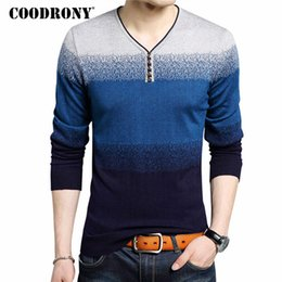 Wholesale Mens V Neck Striped Collar - New Fashion Henry Collar Sweater Male Cotton Wool Mens Sweaters Striped Print Pullover Men V-Neck Pull Homme Plus Size 7105
