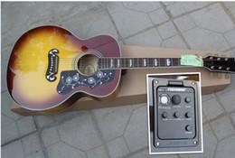Wholesale Guitar Hot Folk - Hot Sale Wholesale Custom Shop SJ Tobacco Sunburst 200 Spruce Top Maple Back & Sides Fishman 101 301 Pickup EQ Acoustic Guitar Folk