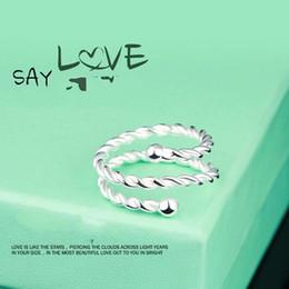 стерлингового серебра ювелирные изделия корейский моды твист двойное кольцо мода тонкой резьбой совместное кольцо открытие от