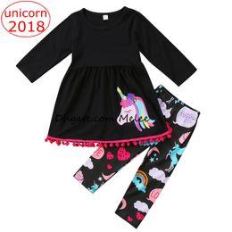 Wholesale Zebra Dresses Kids - INS Christmas Unicorn Kids Baby Girls Outfits Clothes tassels T-shirt Tops Dress + Long Pants 2PCS Set colorful fancy kids clothing sets