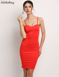 Wholesale Empire Knee Pads - Sexy Spaghetti Strap Dress Women Party Backless Padded Dress Hip Package Bodycon Summer Solid Slim Fit Casual Mini Dress Red Hot SV024681