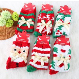 Wholesale Thermal Knee High Socks Women - Merry Christmas Autumn Winter female cartoon coral fleece gift thickening thermal sleeping towel maternity knee-high short wholesale