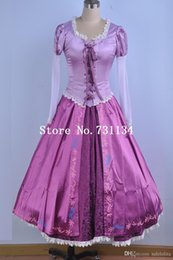 Wholesale Halloween Costume Xs - Brand New Adult Rapunzel Fancy Dress Anime Cosplay Costume Purple Princess Fairytale Tangled Printed Lace Dress For Women