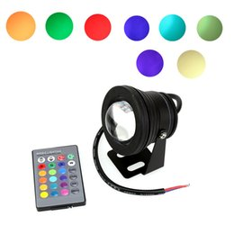 Wholesale Led Rgb Underwater Fountain Lights - 10W 12V RGB LED Underwater Light with Convex Lens Waterproof IP68 Fountain Aquarium Pond Pool Lamp with IR Remote Controller
