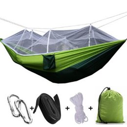 Wholesale Hammock Single - 260*140cm Portable Hammock With Mosquito Net Single-person Hammock Hanging Bed Folded Into The Pouch For Travel Camping CCA6841 10pcs