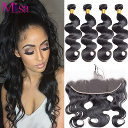 Wholesale Hand Tied Weaving Hair - Brazilian Body Wave Virgin Hair 4 Bundles with Frontal Closure 13*4 Hand Tied with Baby Hair Brazillian Human Hair Weave Bundles Closure