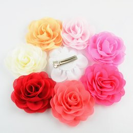 2019 chiffon rosas tecido 28 Pçslote, Rose Tecido Chiffon Flor Grampo de Cabelo Faixas de Cabeça Sólida Moda Hairpins Crianças Headbands Grampo de Cabelo de Poliéster desconto chiffon rosas tecido