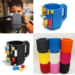 Wholesale Pink Coffee Mugs - Drinkware Building Blocks Mugs DIY Block Puzzle Mug Build-On Brick creative Mug Lego Type Coffee Cup Free Shipping