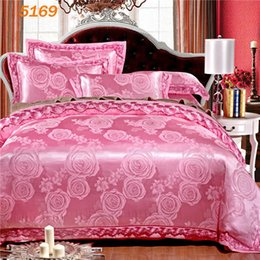 Wholesale Silk Beddings - Flowers pink silk bedding set king size stain silk beddings queen size embroidery ruffles duvet covers bed sheets pillowcase5169