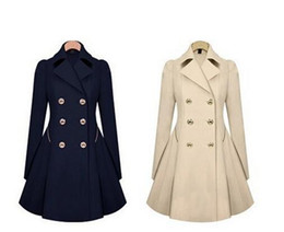 Wholesale Peplum Jackets Xl - Fashion Women Slim Thin Long Beige And Navy Coat Lapel Neck Windbreaker Cold Wind Jacket Trench Coats For Women