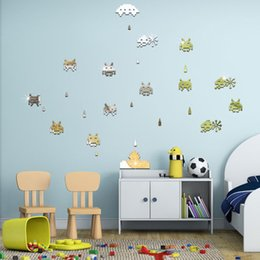 Wholesale Pink Animated - Children's Mirror Wall Stickers Space Invaders classic animated gold silver black  new 2016 European and American fashion