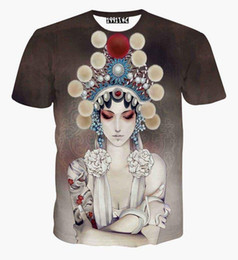 Wholesale Clothes Beijing - High Quality China Style Women's T-shirt 3d summer tops printed Beijing opera actor Casual t shirt short sleeve tees clothing