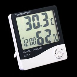 Wholesale Digital Thermometer Station - HTC-1 High accuracy LCD Digital Thermometer Hygrometer Indoor Electronic Temperature Humidity Meter Clock Alarm Weather Station 50pcs DHL