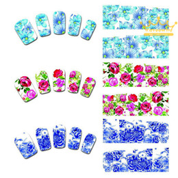Wholesale Designs Nail Art Wraps Sticker - 50Sheets Water Transfer Nails Art Sticker Pink Red Rose Flowers Design Nail Sticker Manicure Decor Tools Cover Nail Wraps Decals