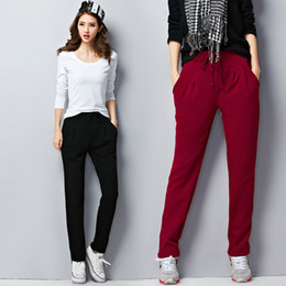 Wholesale Fat Bow - 2017 autumn and winter fat sister big size loose Haren pants, Korean women's pants, cashmere thickening feet casual sports pants pants