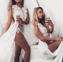 Wholesale Empire Waist Chiffon Maxi Dress - 2016 Summer new gauze sleeveless beach skirt high waist thin Chiffon Dress Embroidery bud mop white Hollow Out lace beachwear