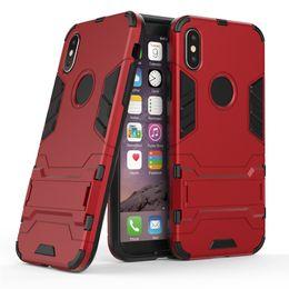 Para o iphone x case híbrido armadura à prova de choque cobertura de proteção completa com kickstand tpu pc robô ironman defensor case para iphone7 samsung s8plus de