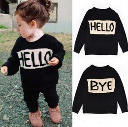 Wholesale Kids Wool Jackets - Kids Ins knited sweater Baby HELLO Bye sweater Ins Pullover Winter knited coats Fashion jackets Ins sweatershirt cardigans Jumpers Free Ship