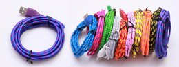 Wholesale Usb Wiring Colors - 1000pcs 2M 6FT Fabric Nylon Braided Micro USB Cable Charger Data Sync USB Cord Wire For Samsung Galaxy Xiaomi HTC 10 Colors Available
