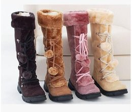 Wholesale Cheap Flat Knee Boots - New Style Autumn Winter Warm cheap shoes high knitting snow boots artificial scrub leather casual Bandage female mid-calf shoes