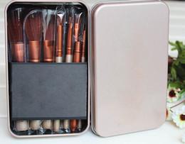 Wholesale Wholesale Small Makeup Brush Sets - Makeup Brushes kits Tools Golden box Powder Eyeshadow Large Medium Eyebrow Small Lip Eyeliner Eyelid Angled Contour Brushe 12pcs sets