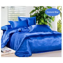 Wholesale White King Duvet Set - Solid color silk bedding set Navy blue satin 3pcs 4pcs bed set tencel comforter duvet quilt cover bed sheet pillowcases set 5140