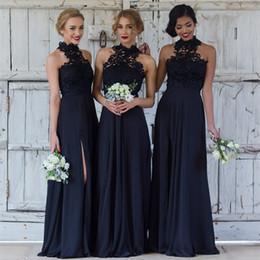 Wholesale drape halter dresses - Cheap Navy blue Bridesmaid Dresses for Wedding Long Chiffon A-Line halter split side Formal Dresses Party Lace Modest Maid Of Honor Dress