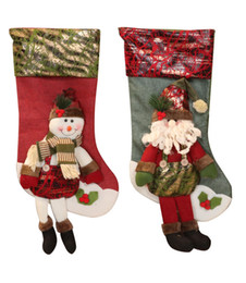 Wholesale Leather Leg Socks - Christmas Ornaments Christmas Socks Red Long Leg Socks Santa Snowman Socks Gift Bag Decoration Daily necessities