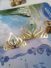 Wholesale Crowns Tiaras Kids Plastic - 2016 New Arrival elsa coronation crown Hair Comb plastic Hairpins Gloden Kids Princess Headdress gold crown headband 5 colors