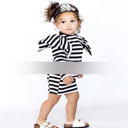 Wholesale Girls Long Sleeved Lace Dress - 2017 New Girls Dresses Children Clothing Long Sleeve Striped Pure Cotton Baby Dress Puff Sleeved Stripe Dresses For Toddler Girl A7614