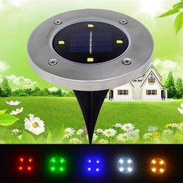 parcours paysager Promotion Vente en gros - 2Pcs 4LED Solar Lights Outdoor Ground Lights Path Garden Landscape Lighting For Yard Driveway Lawn Pathway