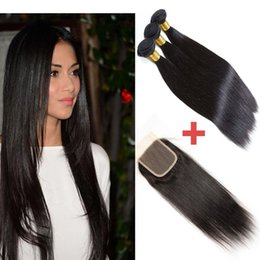 Wholesale Brown Wavy Hair Extensions - 7A Brazilian Hair 3 Bundles with Closure Double Weft Human Hair Extensions Dyeable Hair Weaves Closure Straight Wavy