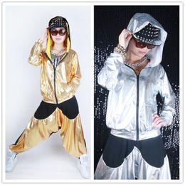 Wholesale women jacket wholesale - Wholesale- Wholesale spliced jazz Loose Zipper dance jackets Thin harem women men unisex Gold Silver shiny Top performance wear